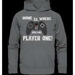 Home is, where you are Player one Spielen Zocken Spruch Fun Hoodie Funshirt
