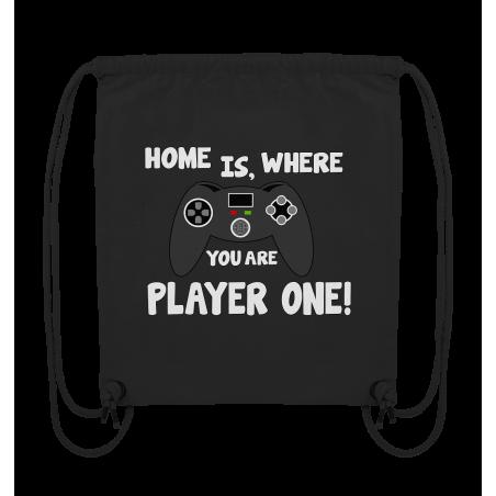 Home is, where you are Player one Spielen Zocken Spruch Fun Turnbeutel Sportbeutel Rucksack