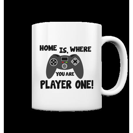 Home is, where you are Player one Spielen Zocken Spruch Fun Tasse Becher Kaffeetasse