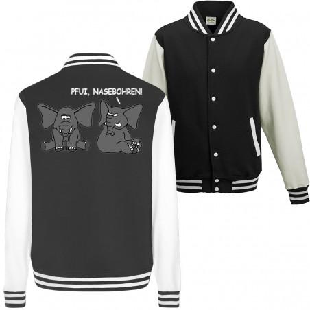 Pfui, Nasebohren! Elefant Spielen Rubbeln Spruch Spass Fun College Jacket Funshirt