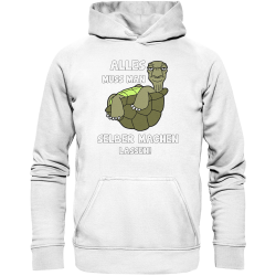 Alles selber machen lassen Schildkröte Faul Null Bock Spruch Fun Hoodie Funshirt